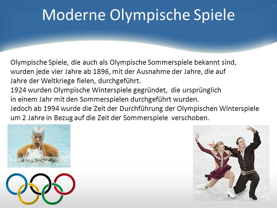 Moderne Olympische Spiele 4 Olympische Spiele, die auch als Olympische Sommerspiele bekannt sind, wurden jede vier Jahre ab 1896, mit der Ausnahme der Jahre, die auf Jahre der Weltkriege fielen, durchgeführt.