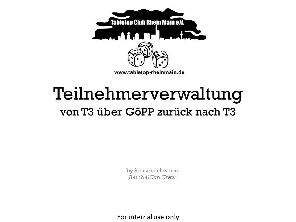 For internal use only von T3 über GöPP zurück nach T3 2 Vorbereitung Paarungen & Rangliste Ausgabe der Ergebnisse 1.