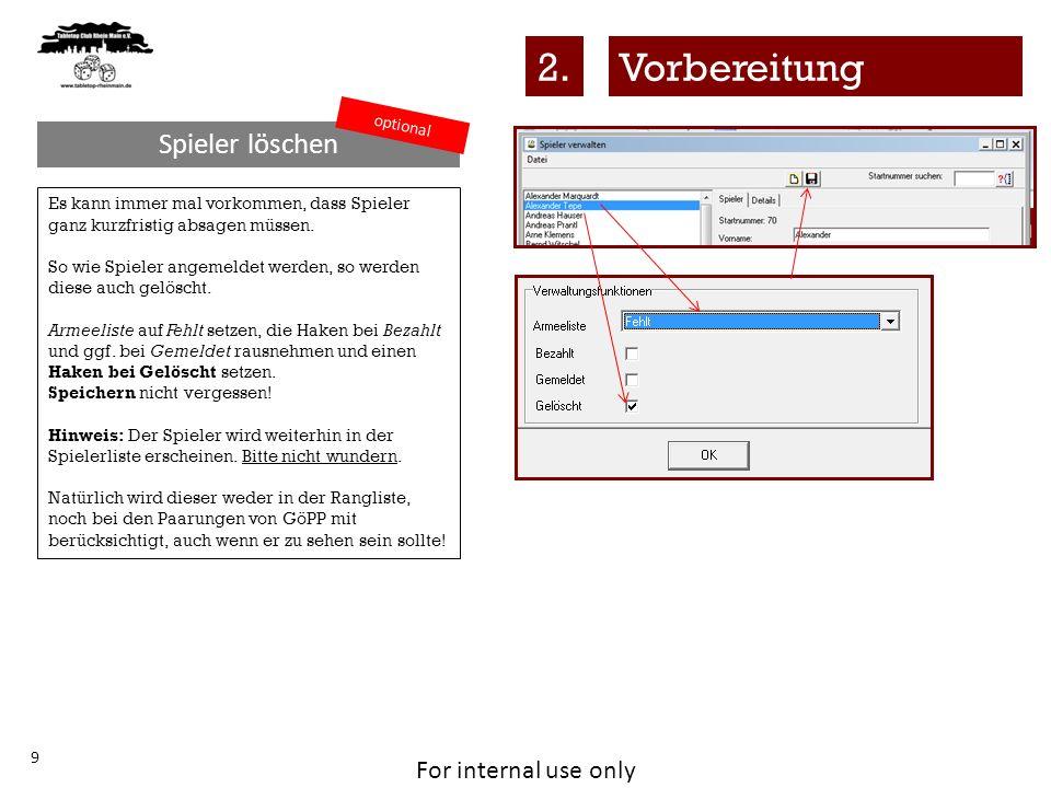 For internal use only 20 Die Ergebniszettel heißen in GöPP Laufzettel und ihr findet diese hier: Dies sollte genutzt werden, da dieses Format die Eingabe in die Ergebnismaske erleichtert, weil das Format des Ausdruck mit der Ergebnismaske übereinstimmt.