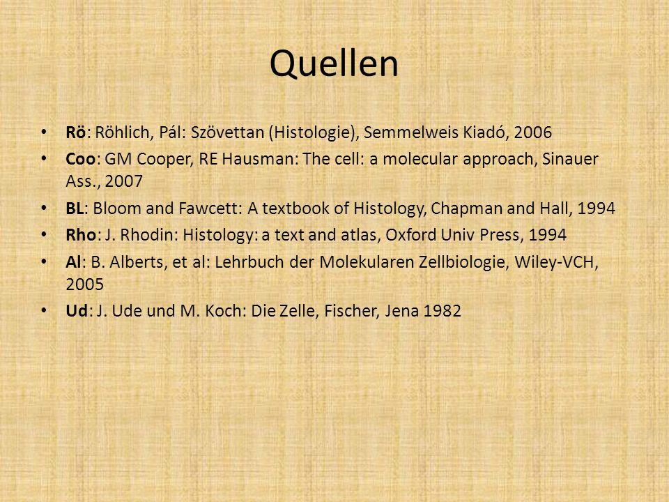 Quellen Rö: Röhlich, Pál: Szövettan (Histologie), Semmelweis Kiadó, 2006 Coo: GM Cooper, RE Hausman: The cell: a molecular approach, Sinauer Ass., 200