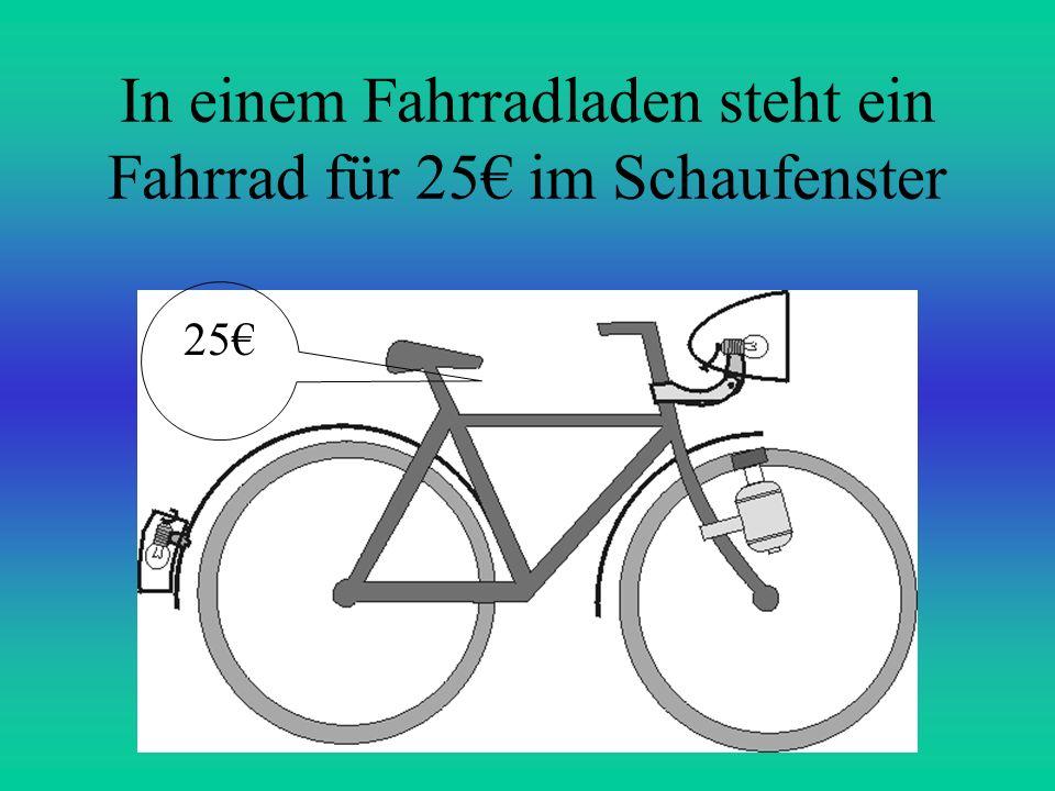 In einem Fahrradladen steht ein Fahrrad für 25 im Schaufenster 25