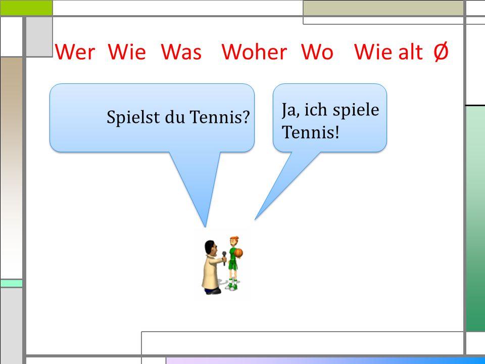 WerWieWasWoherWie altØ Ja, ich spiele Tennis! Spielst du Tennis? Wo