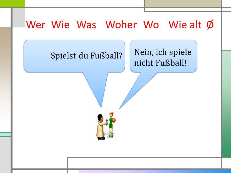 WerWieWasWoherWie altØ Nein, ich spiele nicht Fußball! Spielst du Fußball? Wo