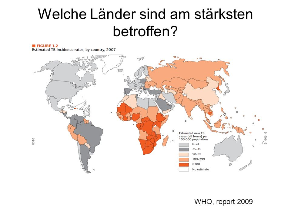 Welche Länder sind am stärksten betroffen? WHO, report 2009