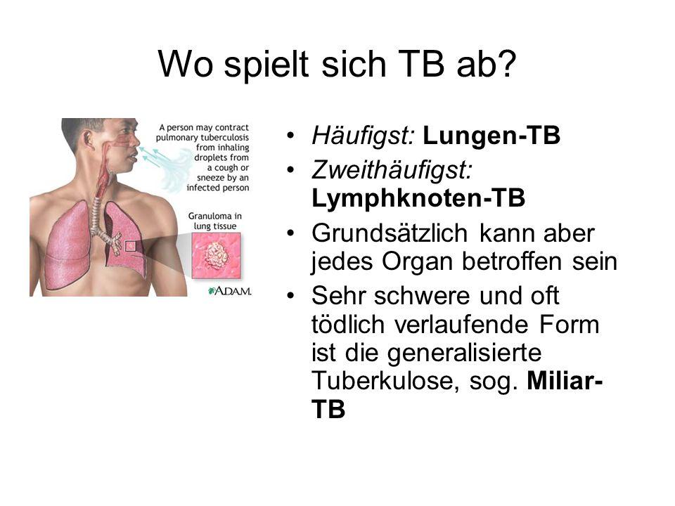 Wo spielt sich TB ab? Häufigst: Lungen-TB Zweithäufigst: Lymphknoten-TB Grundsätzlich kann aber jedes Organ betroffen sein Sehr schwere und oft tödlic