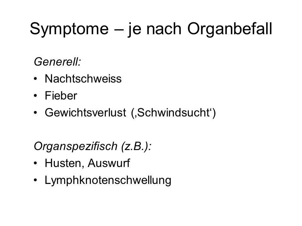 Symptome – je nach Organbefall Generell: Nachtschweiss Fieber Gewichtsverlust (Schwindsucht) Organspezifisch (z.B.): Husten, Auswurf Lymphknotenschwel