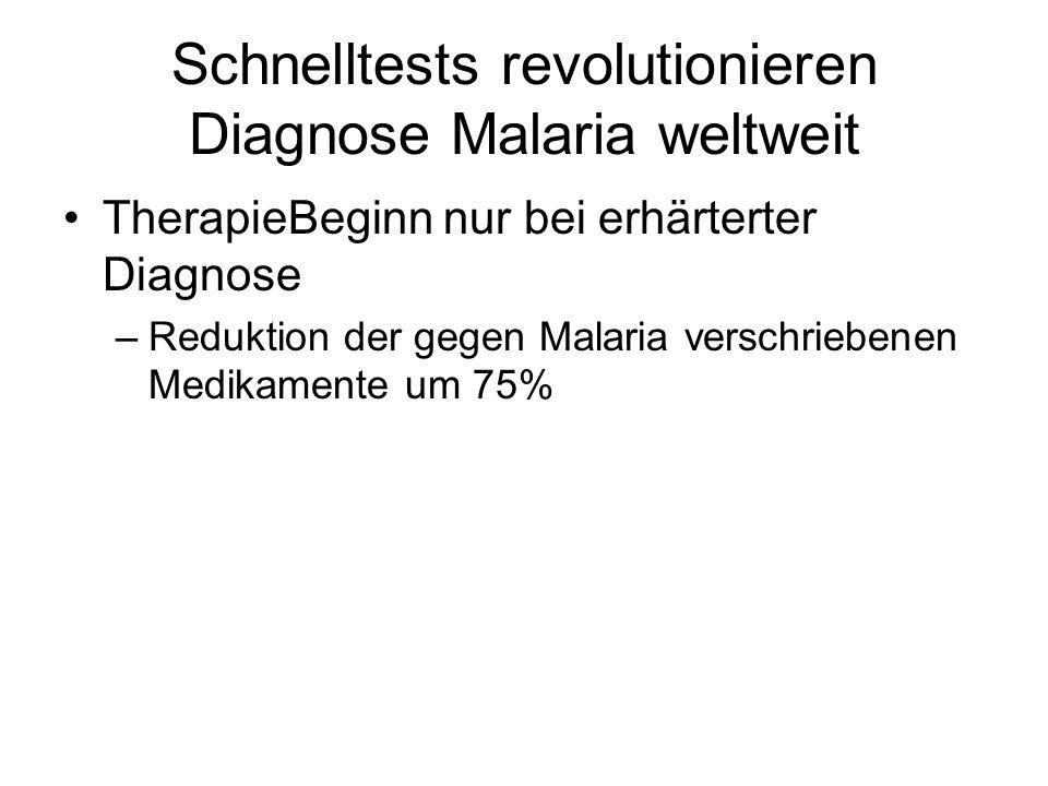 Schnelltests revolutionieren Diagnose Malaria weltweit TherapieBeginn nur bei erhärterter Diagnose –Reduktion der gegen Malaria verschriebenen Medikam
