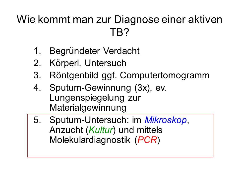 Wie kommt man zur Diagnose einer aktiven TB? 1.Begründeter Verdacht 2.Körperl. Untersuch 3.Röntgenbild ggf. Computertomogramm 4.Sputum-Gewinnung (3x),