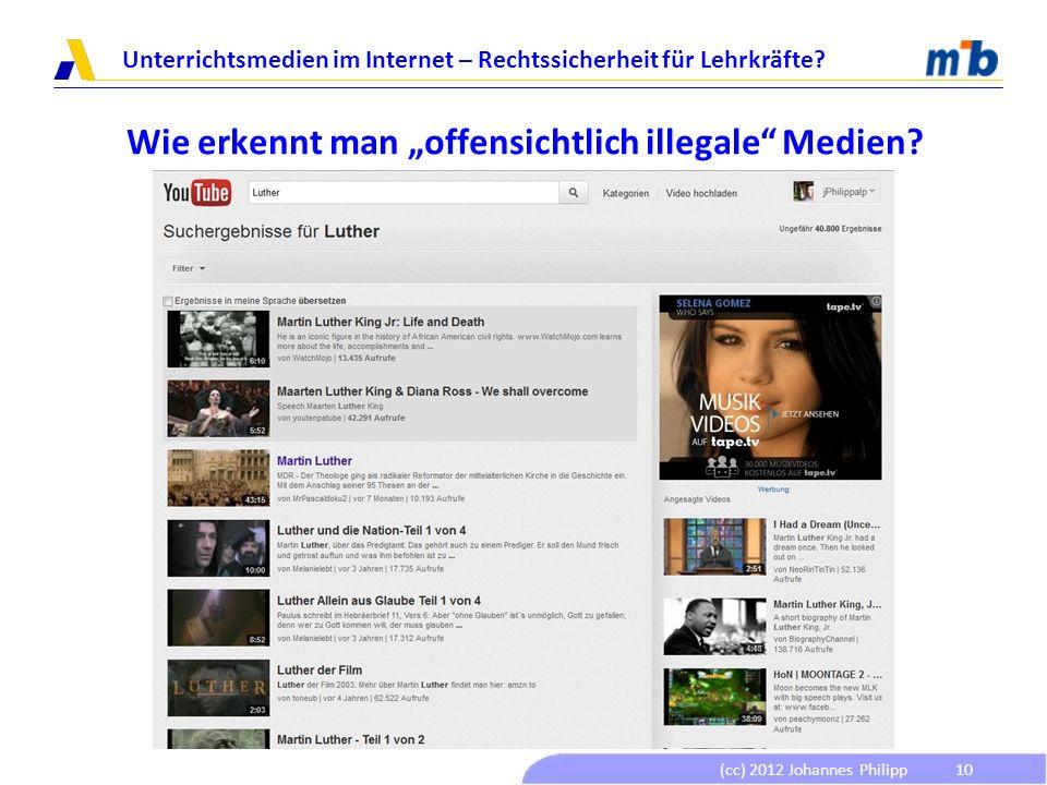 (cc) 2012 Johannes Philipp Unterrichtsmedien im Internet – Rechtssicherheit für Lehrkräfte? 10 Wie erkennt man offensichtlich illegale Medien?