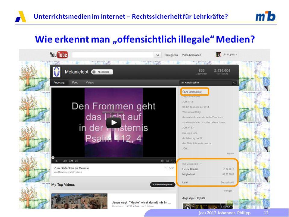 (cc) 2012 Johannes Philipp Unterrichtsmedien im Internet – Rechtssicherheit für Lehrkräfte? 12 Wie erkennt man offensichtlich illegale Medien?