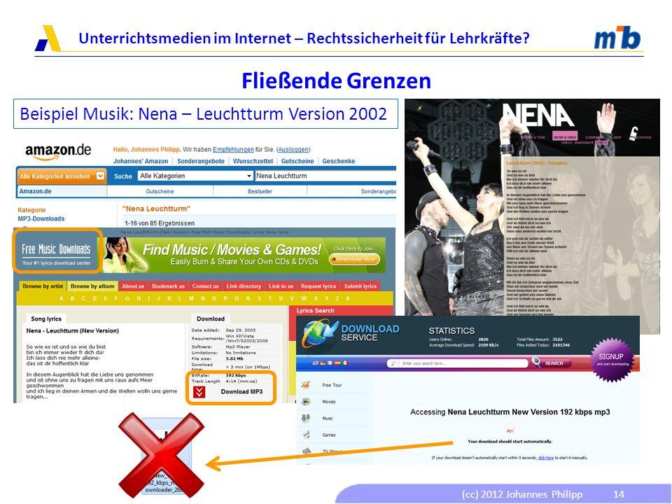 (cc) 2012 Johannes Philipp Unterrichtsmedien im Internet – Rechtssicherheit für Lehrkräfte? 14 Fließende Grenzen Beispiel Musik: Nena – Leuchtturm Ver
