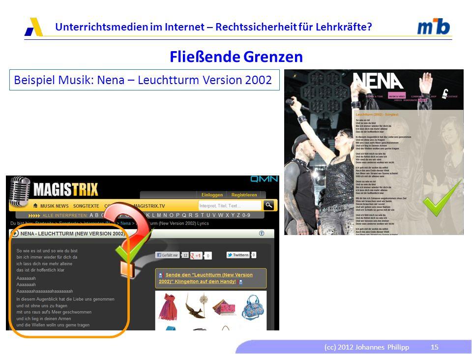 (cc) 2012 Johannes Philipp Unterrichtsmedien im Internet – Rechtssicherheit für Lehrkräfte? 15 Fließende Grenzen Beispiel Musik: Nena – Leuchtturm Ver