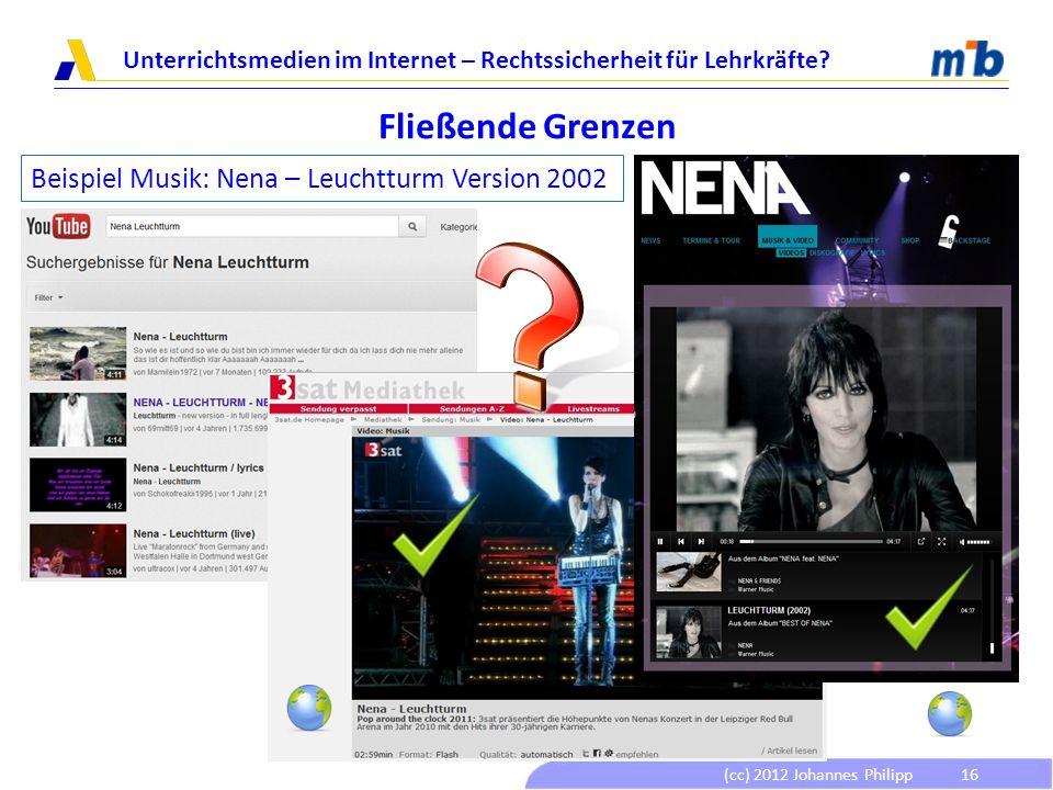 (cc) 2012 Johannes Philipp Unterrichtsmedien im Internet – Rechtssicherheit für Lehrkräfte? 16 Fließende Grenzen Beispiel Musik: Nena – Leuchtturm Ver