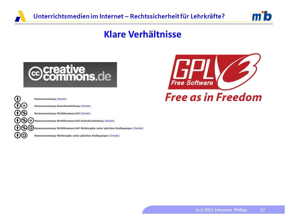 (cc) 2012 Johannes Philipp Unterrichtsmedien im Internet – Rechtssicherheit für Lehrkräfte? 17 Klare Verhältnisse