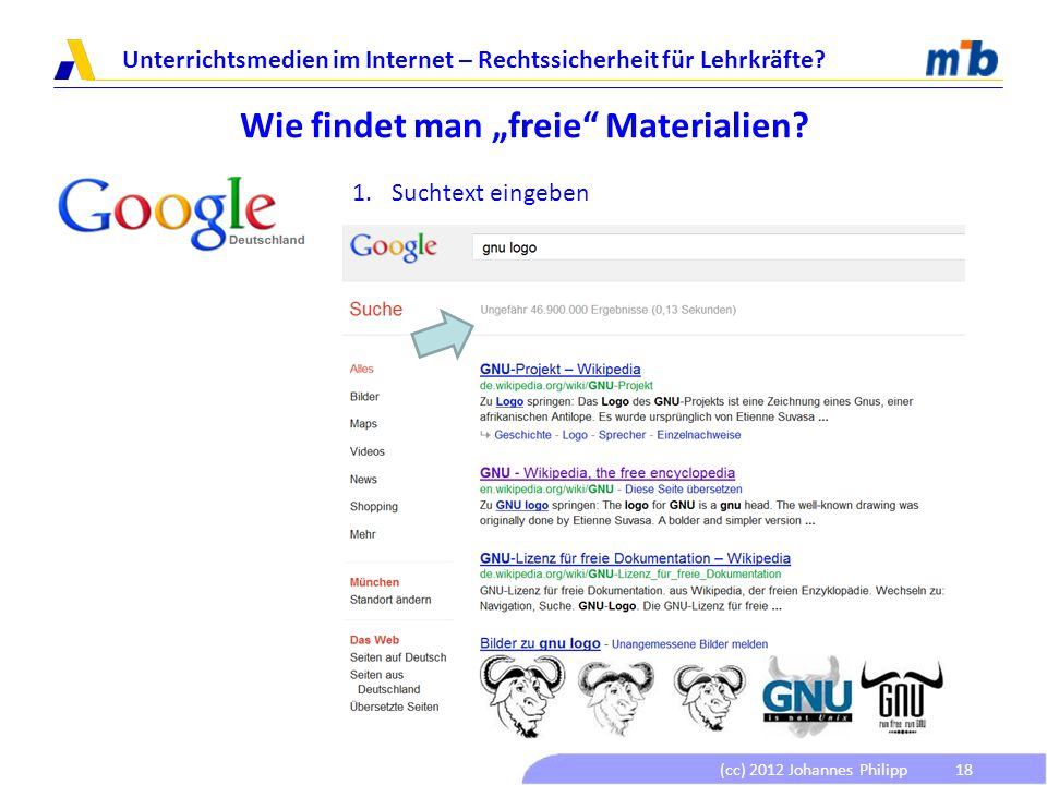 (cc) 2012 Johannes Philipp Unterrichtsmedien im Internet – Rechtssicherheit für Lehrkräfte? 18 Wie findet man freie Materialien? 1.Suchtext eingeben