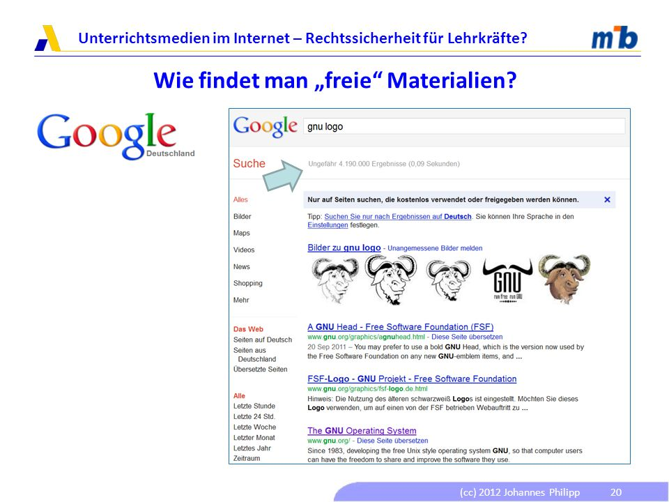 (cc) 2012 Johannes Philipp Unterrichtsmedien im Internet – Rechtssicherheit für Lehrkräfte? 20 Wie findet man freie Materialien?