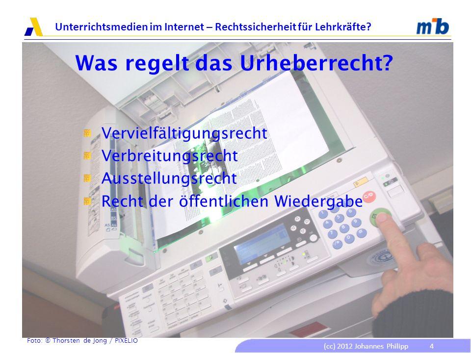 (cc) 2012 Johannes Philipp Unterrichtsmedien im Internet – Rechtssicherheit für Lehrkräfte? 4 Was regelt das Urheberrecht? Vervielfältigungsrecht Verb