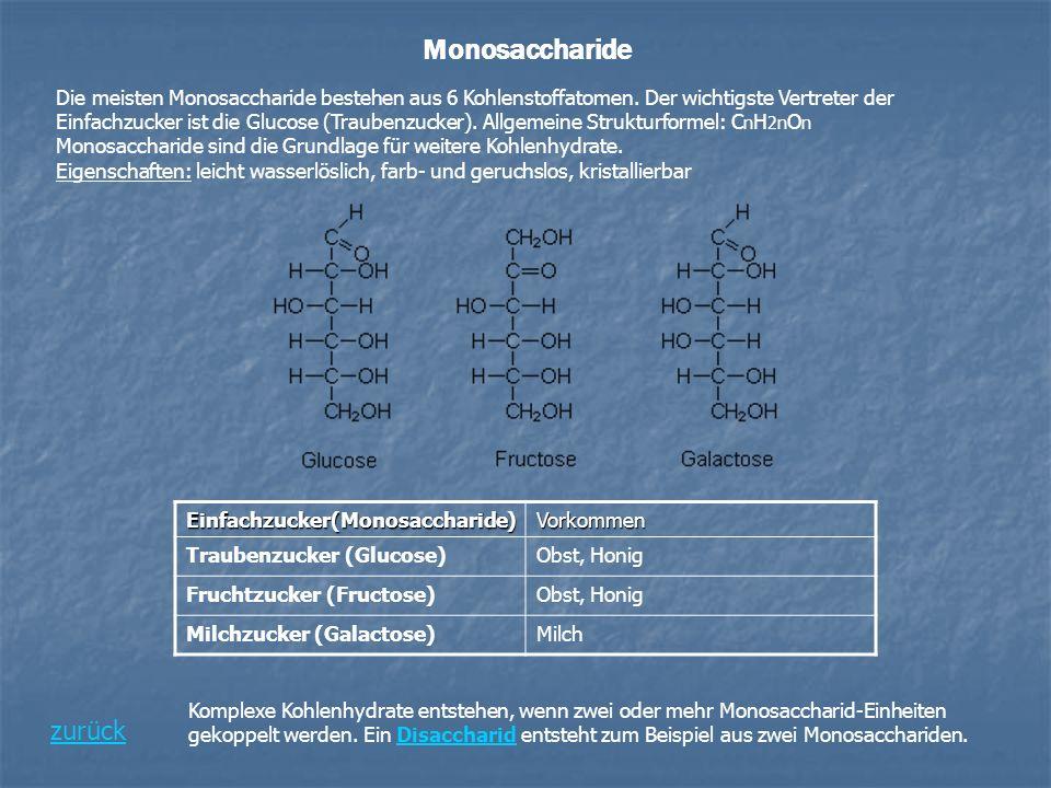 Monosaccharide Die meisten Monosaccharide bestehen aus 6 Kohlenstoffatomen. Der wichtigste Vertreter der Einfachzucker ist die Glucose (Traubenzucker)