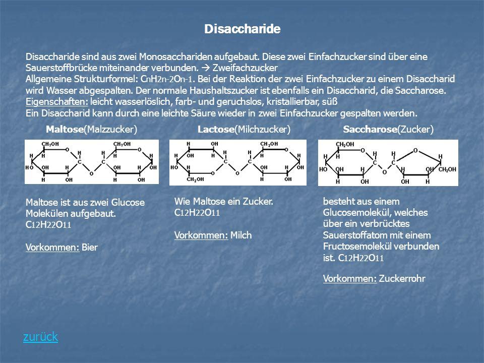 Disaccharide Disaccharide sind aus zwei Monosacchariden aufgebaut. Diese zwei Einfachzucker sind über eine Sauerstoffbrücke miteinander verbunden. Zwe