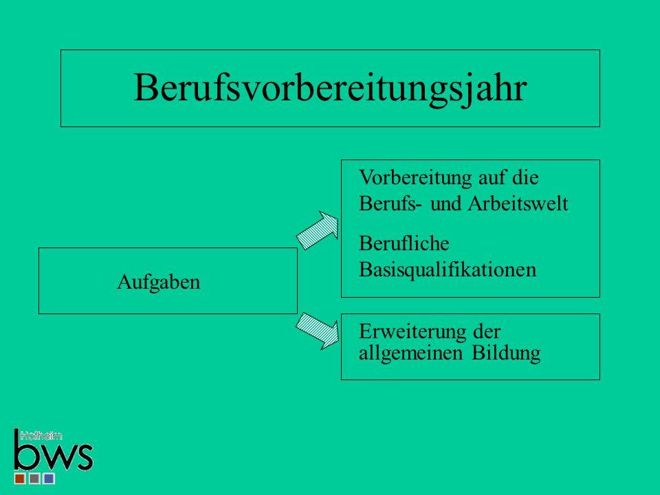Berufsvorbereitungsjahr Aufgaben Vorbereitung auf die Berufs- und Arbeitswelt Berufliche Basisqualifikationen Erweiterung der allgemeinen Bildung