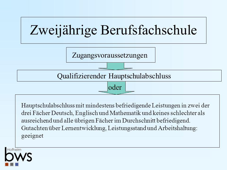 Zweijährige Berufsfachschule Zugangsvoraussetzungen Hauptschulabschluss mit mindestens befriedigende Leistungen in zwei der drei Fächer Deutsch, Engli