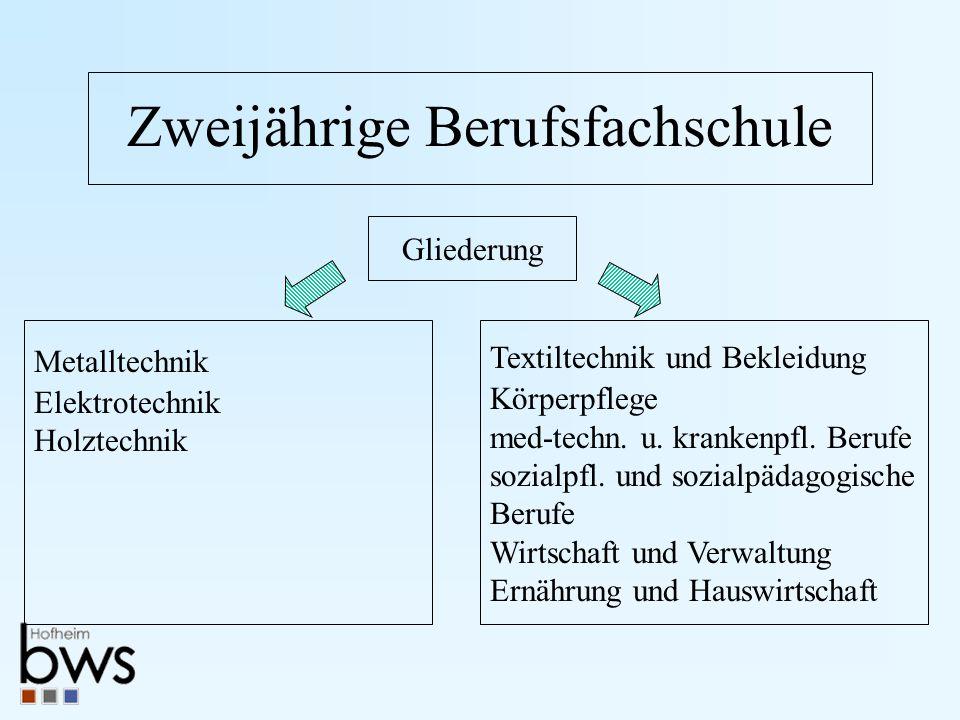 Zweijährige Berufsfachschule Gliederung Textiltechnik und Bekleidung Körperpflege med-techn.