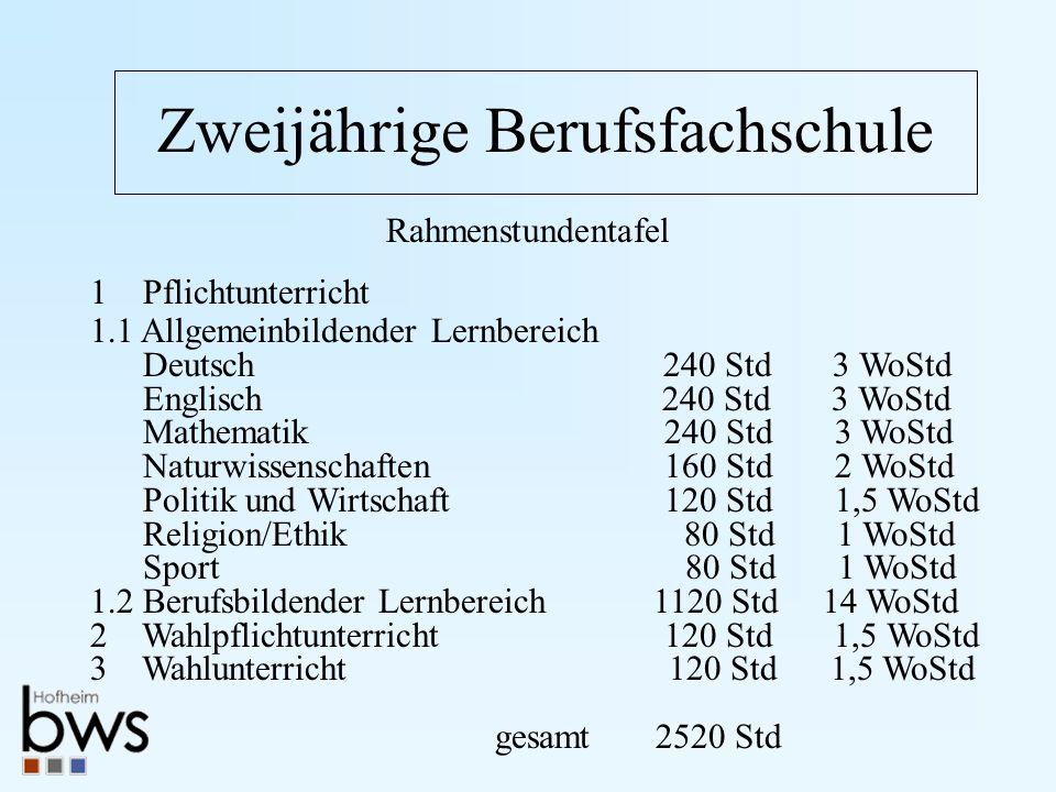 Zweijährige Berufsfachschule Rahmenstundentafel 1 Pflichtunterricht 1.1 Allgemeinbildender Lernbereich Deutsch 240 Std 3 WoStd Englisch 240 Std 3 WoSt