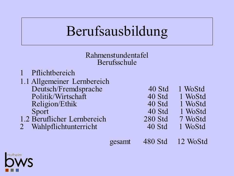 Berufsausbildung 1 Pflichtbereich 1.1 Allgemeiner Lernbereich Deutsch/Fremdsprache 40 Std 1 WoStd Politik/Wirtschaft 40 Std 1 WoStd Religion/Ethik 40