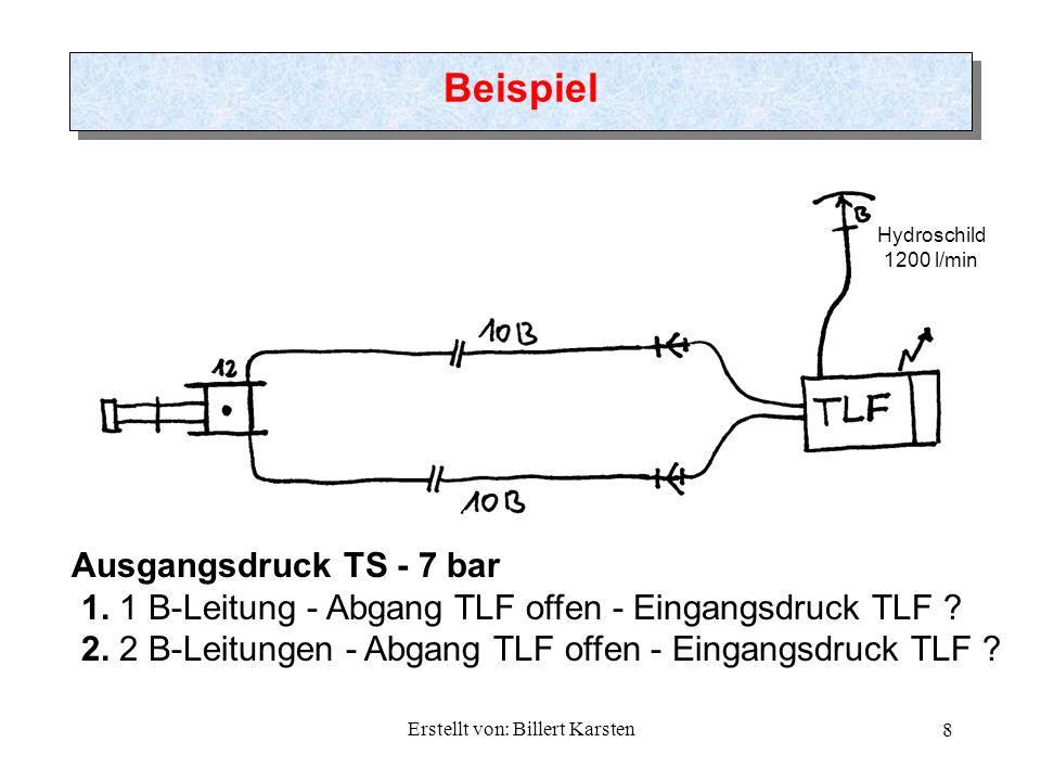 Erstellt von: Billert Karsten 8 Beispiel Hydroschild 1200 l/min Ausgangsdruck TS - 7 bar 1. 1 B-Leitung - Abgang TLF offen - Eingangsdruck TLF ? 2. 2