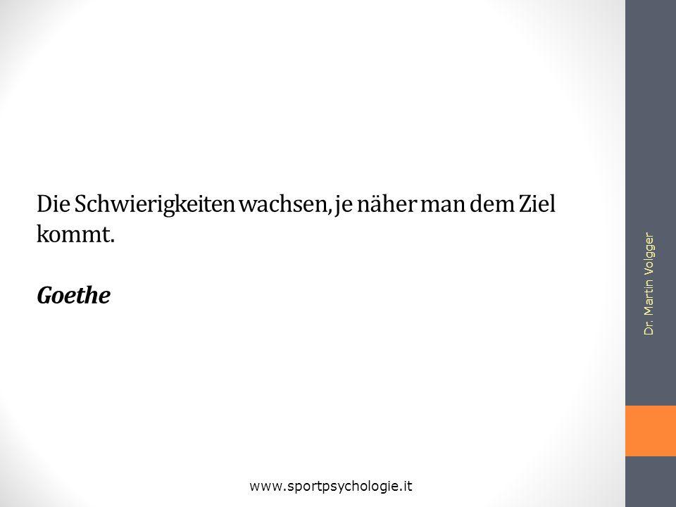 Dr. Martin Volgger www.sportpsychologie.it Die Schwierigkeiten wachsen, je näher man dem Ziel kommt. Goethe