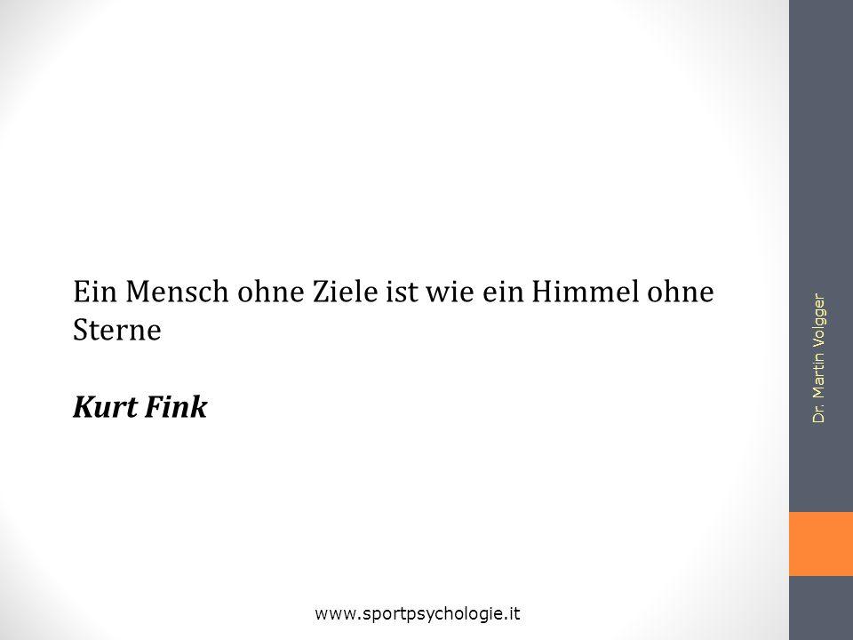 Dr. Martin Volgger www.sportpsychologie.it Ein Mensch ohne Ziele ist wie ein Himmel ohne Sterne Kurt Fink