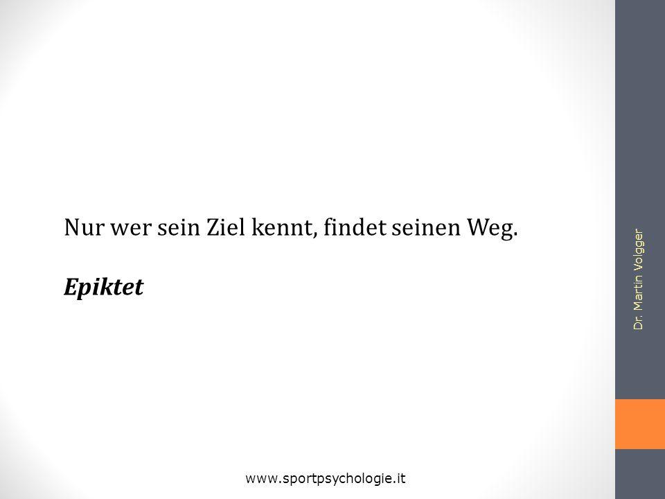 Dr. Martin Volgger www.sportpsychologie.it Nur wer sein Ziel kennt, findet seinen Weg. Epiktet