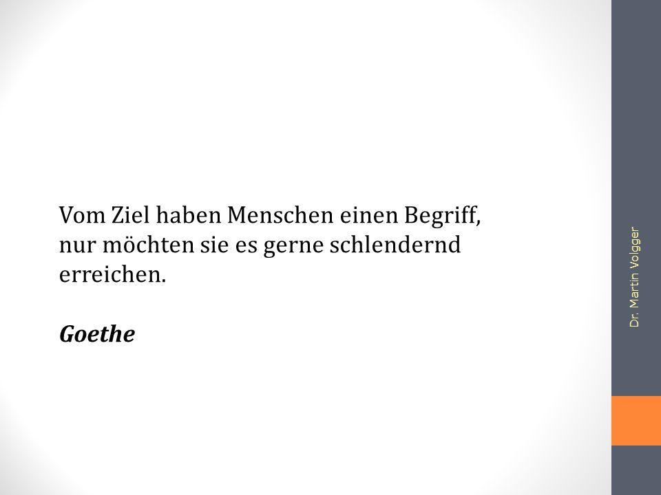 Dr. Martin Volgger Vom Ziel haben Menschen einen Begriff, nur möchten sie es gerne schlendernd erreichen. Goethe