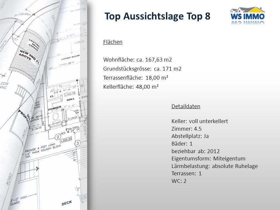 Top Aussichtslage Top 8 Flächen Wohnfläche: ca. 167,63 m2 Grundstücksgrösse: ca.