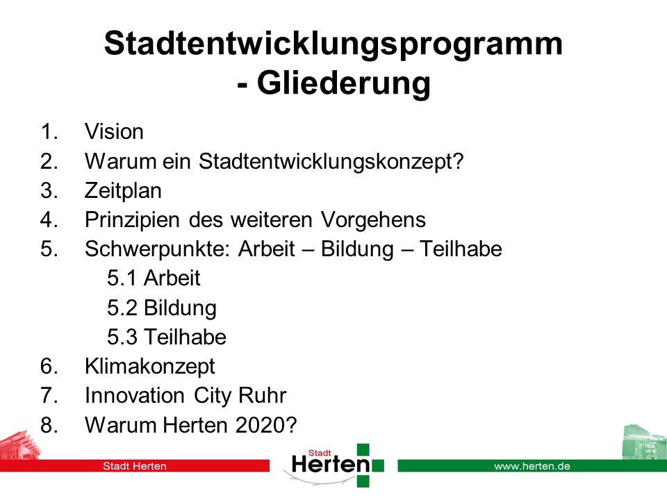 Stadtentwicklungsprogramm - Gliederung 1. Vision 2. Warum ein Stadtentwicklungskonzept? 3. Zeitplan 4. Prinzipien des weiteren Vorgehens 5. Schwerpunk