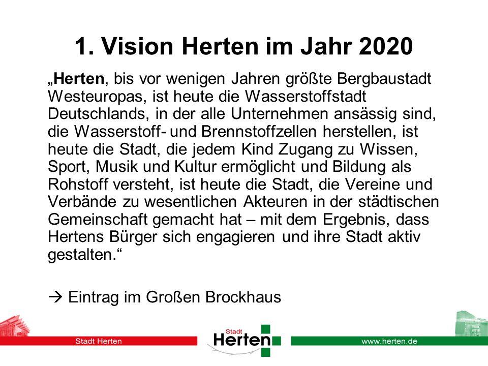 1. Vision Herten im Jahr 2020 Herten, bis vor wenigen Jahren größte Bergbaustadt Westeuropas, ist heute die Wasserstoffstadt Deutschlands, in der alle
