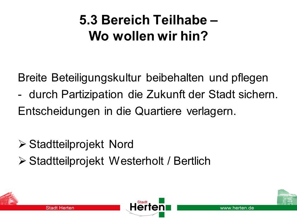 5.3 Bereich Teilhabe – Wo wollen wir hin.