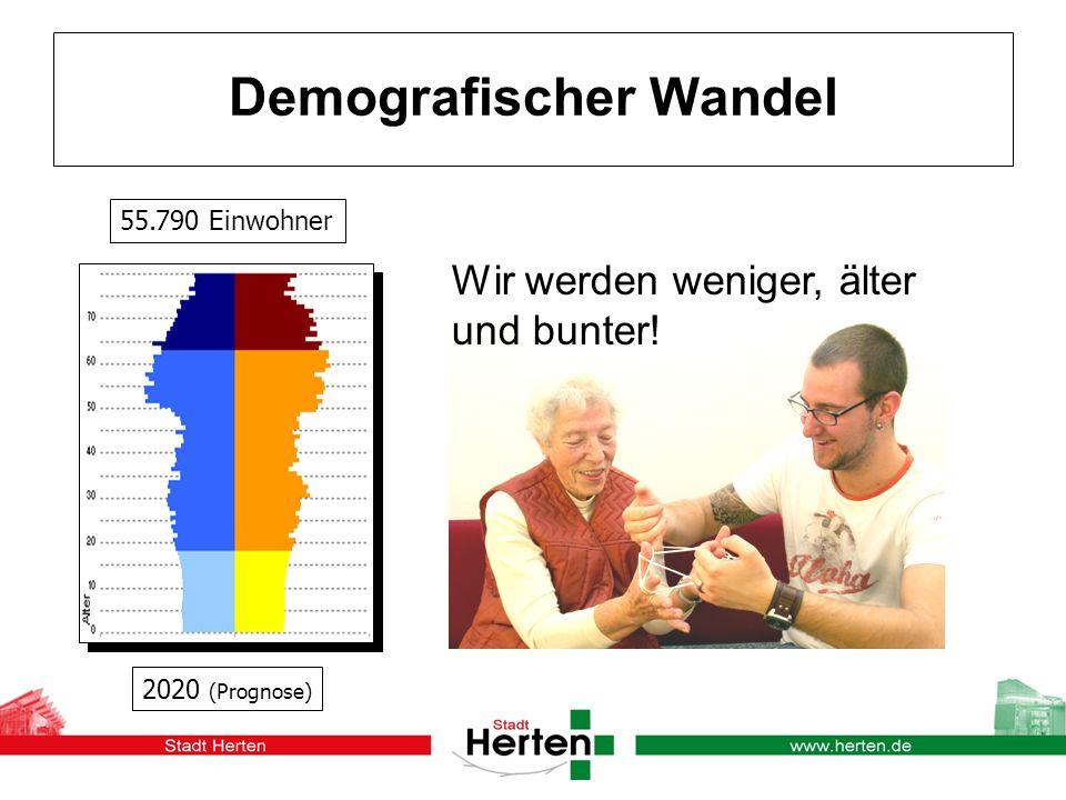 Demografischer Wandel Wir werden weniger, älter und bunter! 2020 (Prognose) 55.790 Einwohner