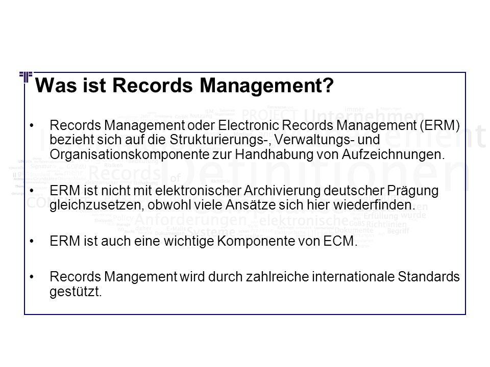Was ist Records Management? Records Management oder Electronic Records Management (ERM) bezieht sich auf die Strukturierungs-, Verwaltungs- und Organi