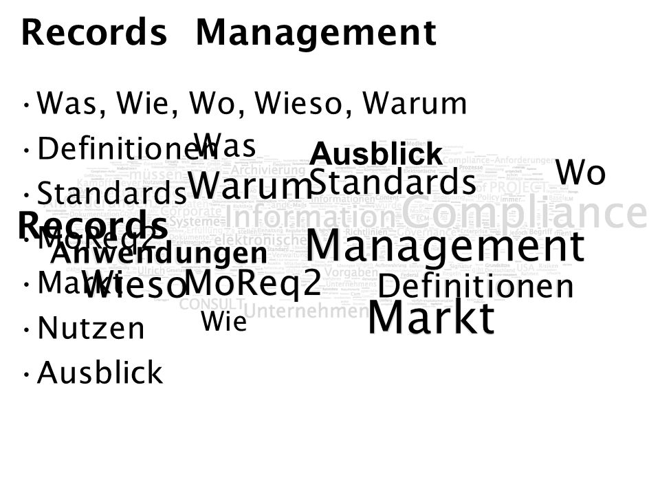 Wo Was Wie Markt MoReq2 Ausblick Records Management Definitionen Standards Anwendungen Warum Wieso Was Wie Wo Records Management Was, Wie, Wo, Wieso,