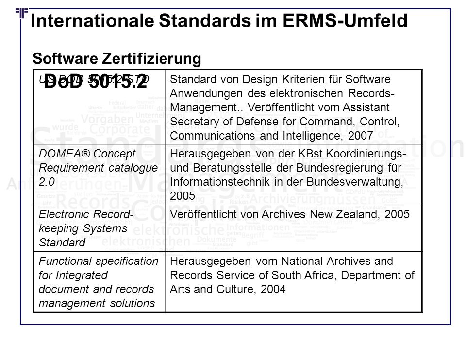 Internationale Standards im ERMS-Umfeld US DOD 5015.2-STDStandard von Design Kriterien für Software Anwendungen des elektronischen Records- Management