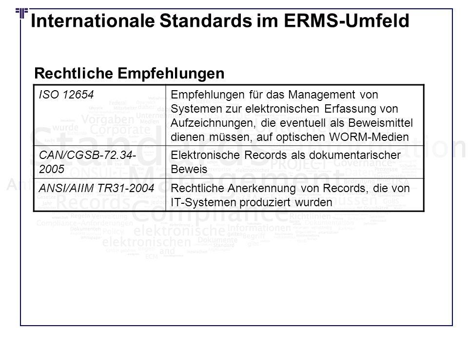 Internationale Standards im ERMS-Umfeld ISO 12654Empfehlungen für das Management von Systemen zur elektronischen Erfassung von Aufzeichnungen, die eve