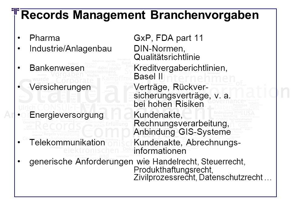 Records Management Branchenvorgaben PharmaGxP, FDA part 11 Industrie/Anlagenbau DIN-Normen, Qualitätsrichtlinie Bankenwesen Kreditvergaberichtlinien,