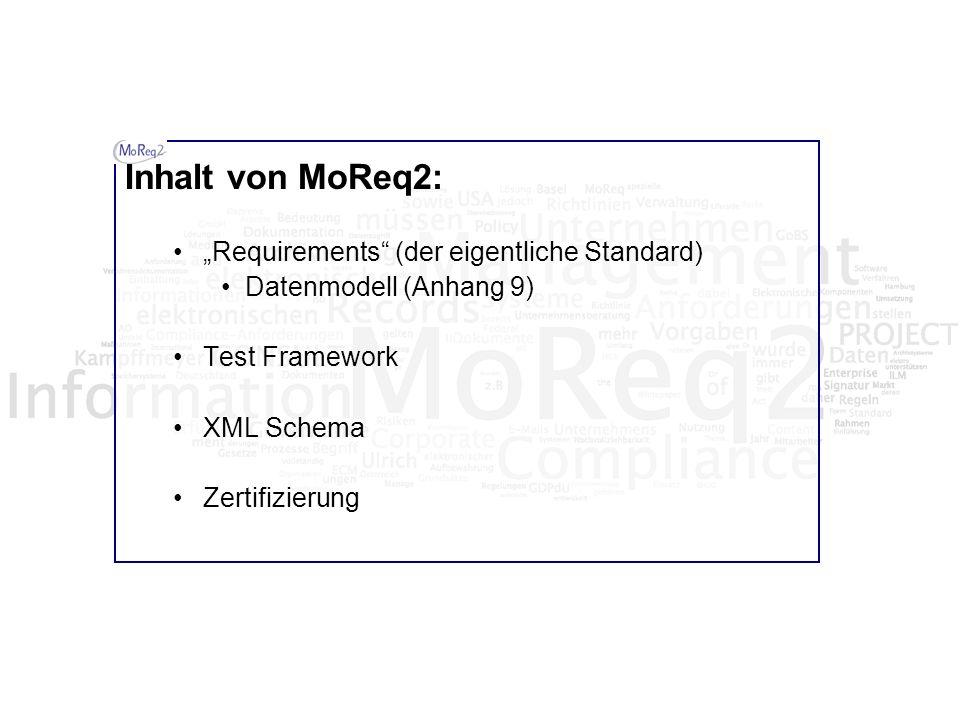 Inhalt von MoReq2: Requirements (der eigentliche Standard) Datenmodell (Anhang 9) Test Framework XML Schema Zertifizierung