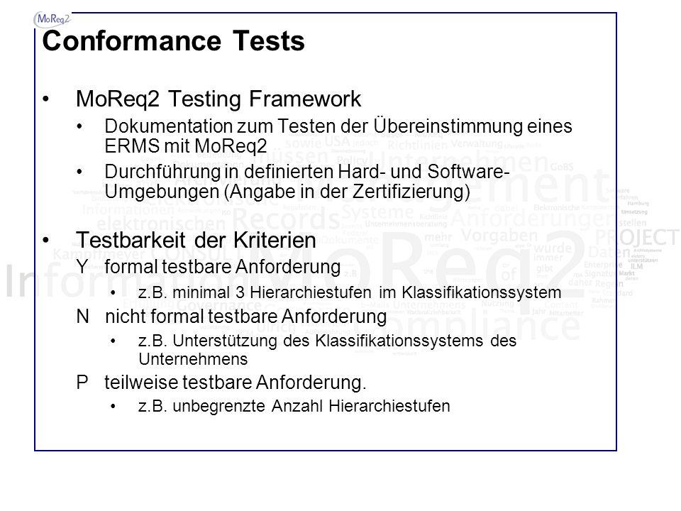 Conformance Tests MoReq2 Testing Framework Dokumentation zum Testen der Übereinstimmung eines ERMS mit MoReq2 Durchführung in definierten Hard- und So