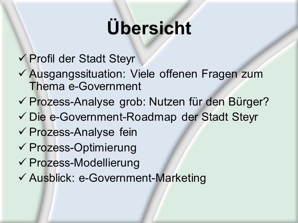 Übersicht Profil der Stadt Steyr Ausgangssituation: Viele offenen Fragen zum Thema e-Government Prozess-Analyse grob: Nutzen für den Bürger? Die e-Gov