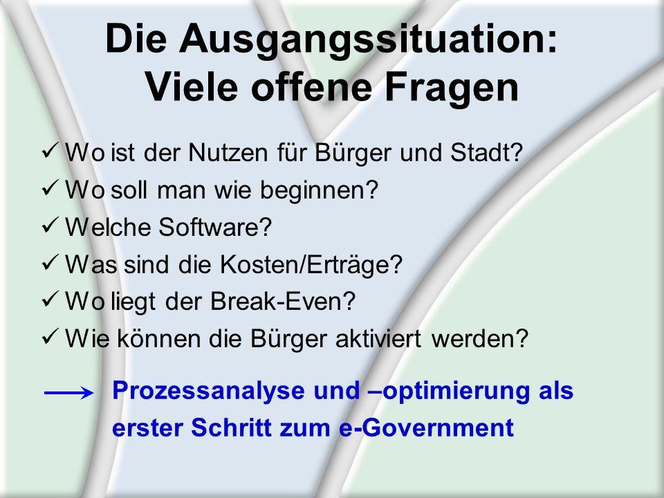 Prozessanalyse grob Prozessanalyse grob = Nutzenanalyse, um zu wissen, wo e- Government zweckmäßig ist und wo begonnen werden soll Verfahrensverkürzung Wegfall der Amtswege Längere Öffnungszeiten