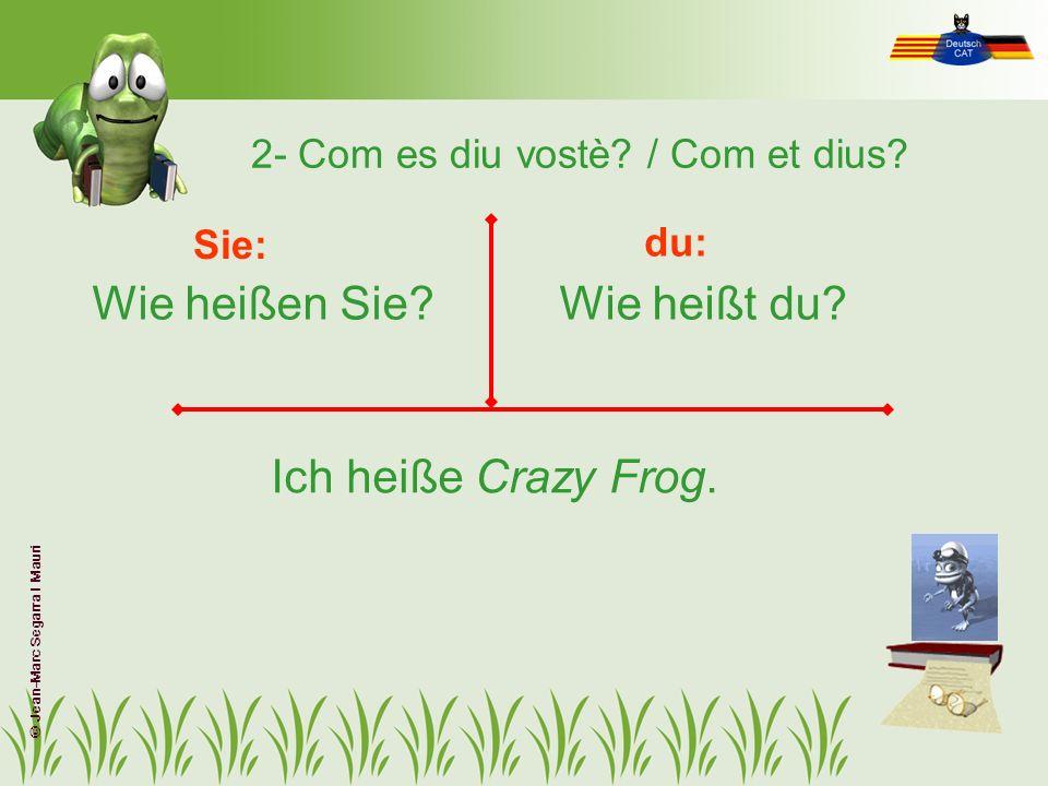 2- Com es diu vostè? / Com et dius? Wie heißen Sie?Wie heißt du? Sie: du: Ich heiße Crazy Frog. © Jean-Marc Segarra I Mauri