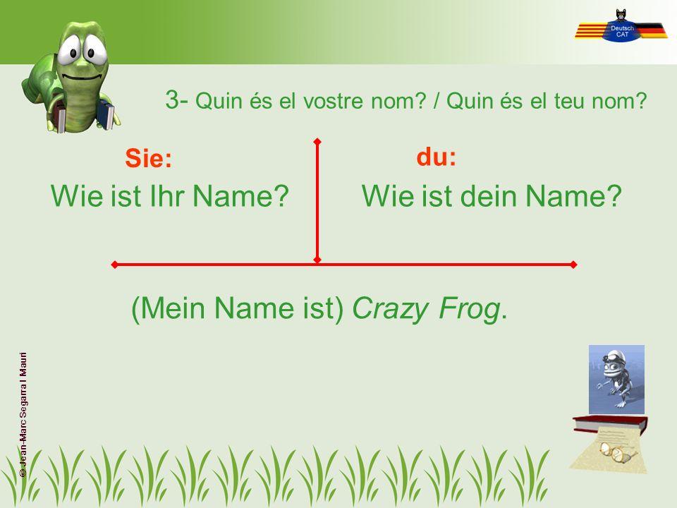 3- Quin és el vostre nom? / Quin és el teu nom? Wie ist Ihr Name?Wie ist dein Name? Sie: du: (Mein Name ist) Crazy Frog. © Jean-Marc Segarra I Mauri