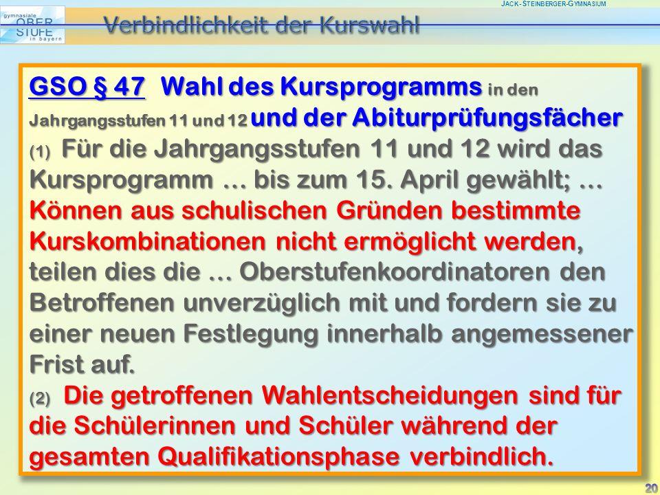 J ACK -S TEINBERGER -G YMNASIUM GSO § 47 Wahl des Kursprogramms in den Jahrgangsstufen 11 und 12 und der Abiturprüfungsfächer (1) Für die Jahrgangsstufen 11 und 12 wird das Kursprogramm … bis zum 15.